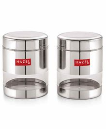 Hazel Stainless Steel Transparent Container Silver Set of 2 - 500 ml each