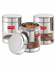 Hazel Stainless Steel Transparent Container Silver Set of 3 - 500 ml each