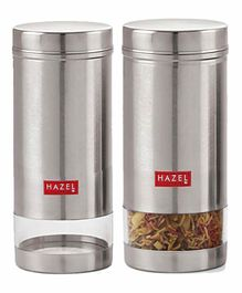 Hazel Stainless Steel Transparent Container Silver Set of 2 - 950 ml each