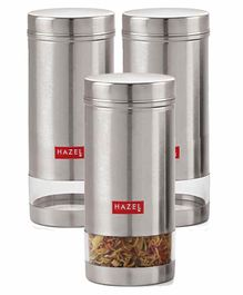 Hazel Stainless Steel Transparent Container Silver Set of 3 - 950 ml each