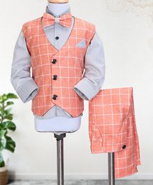 Knotty Kids Full Sleeves Shirt With Bow & Checked Waistcoat With Pants - Peach