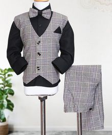 Knotty Kids Full Sleeves Shirt With Bow & Checked Waistcoat With Pants - Black