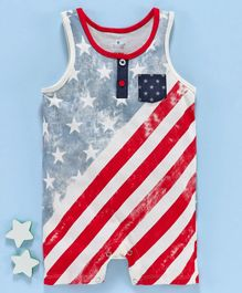 First Smile Sleeveless Stripes & Stars Printed Romper - Cream Red Blue