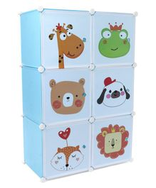 6 Compartment Storage Cabinet Animal Print - Blue