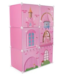 6 Compartment Storage Cabinet House Print - Pink