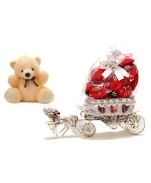 Skylofts Chocolate Box with Holder & Teddy - Red Cream