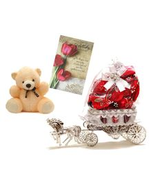 Skylofts Chocolate Box with Teddy & Greeting Card Gift Set - Red Cream
