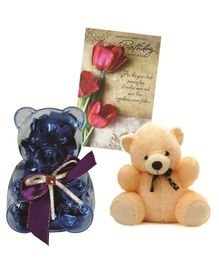 Skylofts Chocolate Box with Teddy and Greeting Card Gift Set - Multicolor