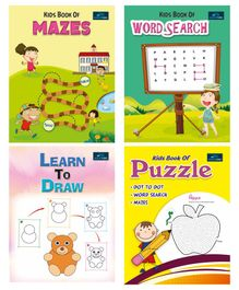 Book Ford Publications 4 in 1 Combo Puzzle Maze Drawing & Word Search Books - English