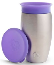 Munchkin Miracle Stainless Steel Sippy Cup Cum Tumbler Purple - 296 ml
