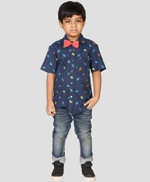 NEO NATIVES Dino Print Half Sleeves Shirt With Bow Tie - Navy Blue