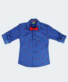 NEO NATIVES Scorpion Print Full Sleeves Shirt With Bow Tie - Blue