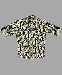 NEO NATIVES Camouflage Print Full Sleeves Shirt - Beige