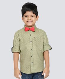 NEO NATIVES Dot Printed Full Sleeves Shirt With Bow Tie - Olive
