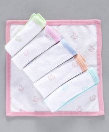 Zero Wash Cloths Horse Print  Set of 6 - White