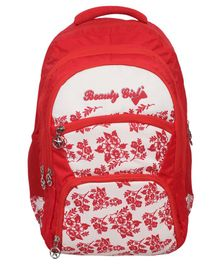 Beauty Girls Water-proof Polyester Backpack White Red - 18 Inches
