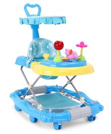 Baby Walker with Parent Push Handle & Play Tray - Blue