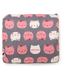 Arm Nursing Pillow Kitty Print - Grey Pink