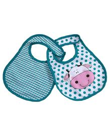 U-grow Washable Waterproof Absorbent Cow Face Cotton Baby Bibs Set of 2 -  Blue