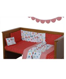 U-Grow Soft Cotton Crib Bedding Set Of 7 - Red