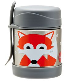 3 Sprouts Stainless Steel Food Jar & Spork Fox Print - Grey