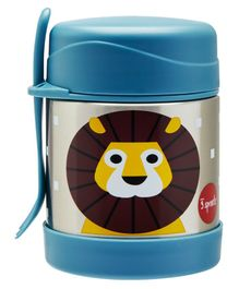3 Sprouts Stainless Steel Food Jar & Spork Lion Print - Blue