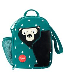 3 Sprouts Lunch Box Bag Bear Patch - Sea Green