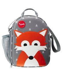 3 Sprouts Lunch Box Bag Fox Patch - Grey
