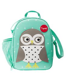 3 Sprouts Lunch Box Bag Owl Patch - Green