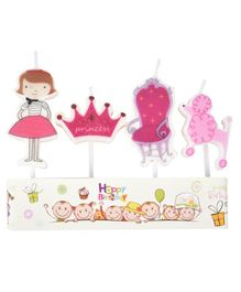 Party Anthem Princess Themed Candles Pink - Set of 4