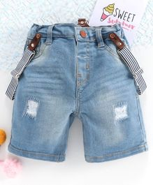 ToffyHouse Denim Shorts With Suspenders - Light  Blue