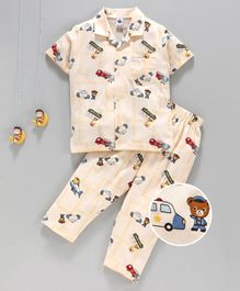 Teddy Half Sleeves Night Suit Teddy Print - Beige
