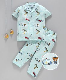 Teddy Half Sleeves Night Suit Teddy Print - Blue