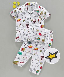 Teddy Half Sleeves 100% Cotton Night Suit Doodle Print - White