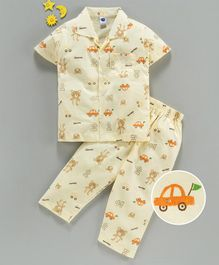 Teddy Half Sleeves 100% Cotton Night Suit Bear Print - Yellow