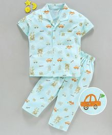 Teddy Half Sleeves 100% Cotton Night Suit Bear Print - Sea Green