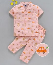 Teddy Half Sleeves 100% Cotton Night Suit Bear Print - Pink