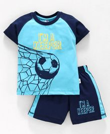 Teddy Half Sleeves T-Shirt And Shorts Soccer Print - Blue