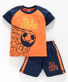 Teddy Half Sleeves T-Shirt And Shorts Soccer Print - Orange