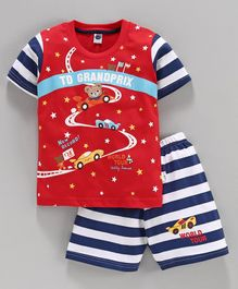 Teddy Half Sleeves Tee & Shorts Car Print - Red Blue
