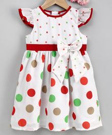 Yellow Duck Cap Sleeves Colourful Polka Dot Printed Dress - Red