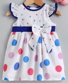 Yellow Duck Cap Sleeves Colourful Polka Dot Printed Dress - Blue