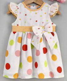 Yellow Duck Cap Sleeves Colourful Polka Dot Printed Dress - Yellow