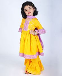 Amairaa Gota Patti Detailing Full Sleeves Kurta With Sharara & Dupatta - Yellow