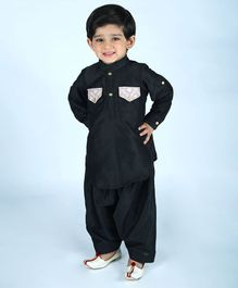 Amairaa Solid Full Sleeves Pathani Suit - Black
