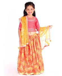 Amairaa Half Sleeves Choli With Bandhani Print Lehenga & Dupatta - Peach & Orange