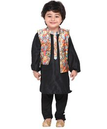 Amairaa Solid Full Sleeves Kurta & Pajama With Digital Print Jacket - Black