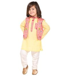 Amairaa Solid Full Sleeves Kurta & Pajama With Motif Printed Waistcoat - Yellow