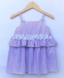 Many frocks & Striped Sleeveless Dress - Purple