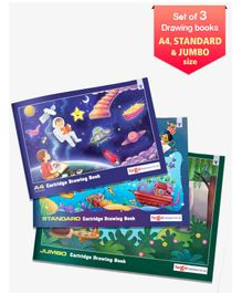 Target Publication A4 Standard & Jumbo Size Drawing Book Set of 3 - 36 Pages each